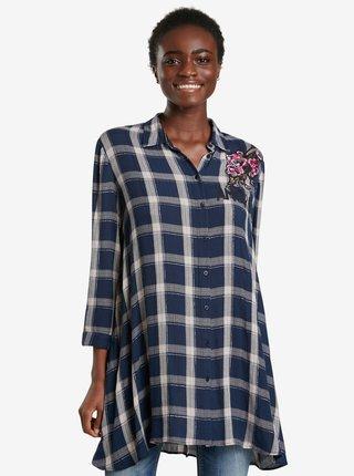 Tmavě modrá dámská kostkovaná košile Desigual Jacaranda