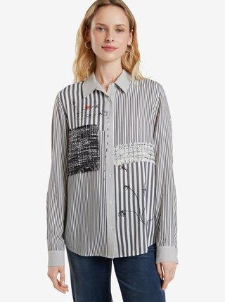 Bielo-šedá dámska pruhovaná košeľa Desigual Bruna