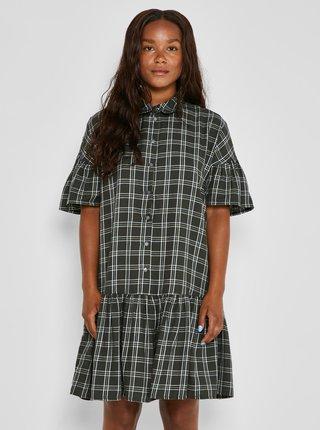 Kaki kockované košeľové šaty Noisy May Erik