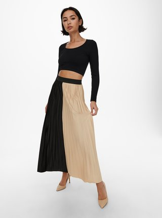 Černo-béžová plisovaná maxi sukně ONLY Sina