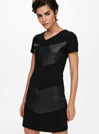 Černé pouzdrové šaty s koženkou ONLY Viola