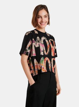 Béžovo-černé dámské vzorované volné tričko Desigual Camelia
