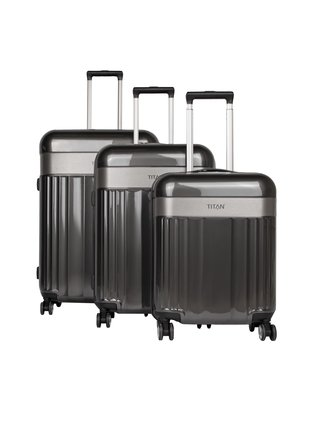 Sada cestovních kufrů Titan Spotlight Flash 4w S,M,L Anthracite – sada 3 kufrů