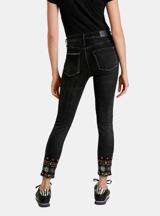 Černé dámské zkrácené skinny fit džíny Desigual Leslie
