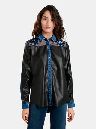 Modro-černá dámská koženková košile Desigual Mary Somerville
