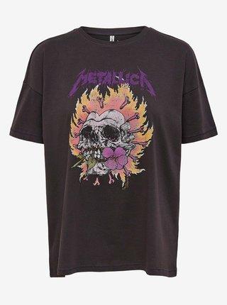 Tmavě šedé volné tričko ONLY Metallica