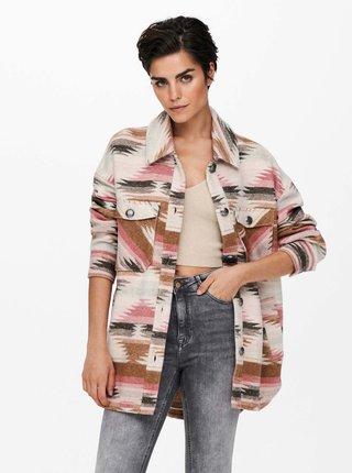 Ružovo-krémová vzorovaná košeľová bunda ONLY Frida