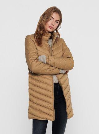 Svetlohnedý zimný prešívaný kabát ONLY New Tahoe