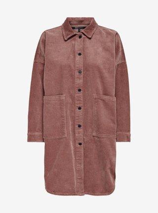 Starorůžová dlouhá manšestrová košilová bunda ONLY Amazing