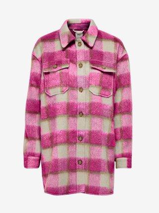 Růžová kostkovaná košilová bunda ONLY Epic