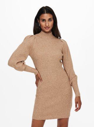 Béžové žebrované svetrové šaty ONLY Katia
