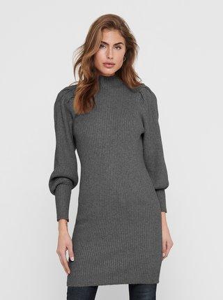 Tmavošedé rebrované svetrové šaty ONLY Katia