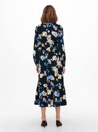 Tmavomodré kvetované midi šaty ONLY Zozo