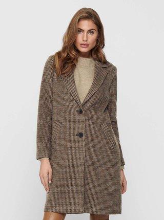 Hnědý kostkovaný zimní kabát ONLY Agnete