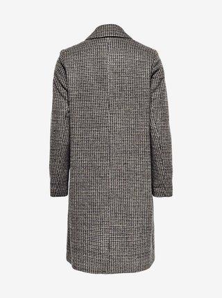 Tmavošedý kockovaný zimný kabát ONLY Agnete