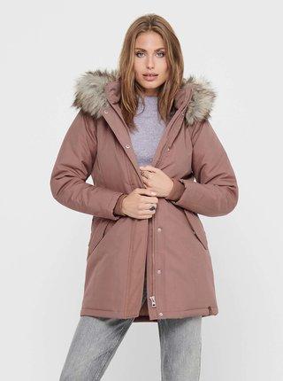 Růžová zimní bunda s umělým kožíškem ONLY Kata