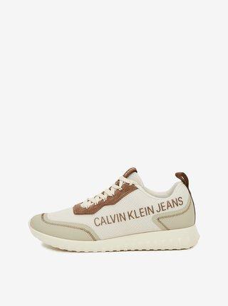 Hnedo-béžové pánske tenisky Calvin Klein