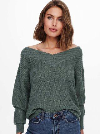 Zelený volný svetr ONLY Melton