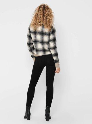 Béžovo-černá kostkovaná lehká bunda ONLY Lou