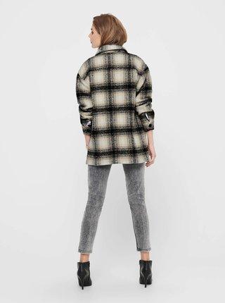 Béžovo-černá kostkovaná volná košilová bunda ONLY Allison