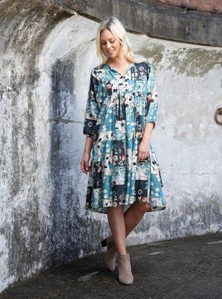 Modré dámske vzorované šaty Orientique Hamrun