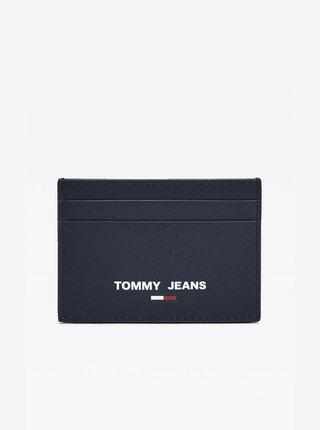 Tmavě modré kožené pánské kožené pouzdro na karty Tommy Hilfiger