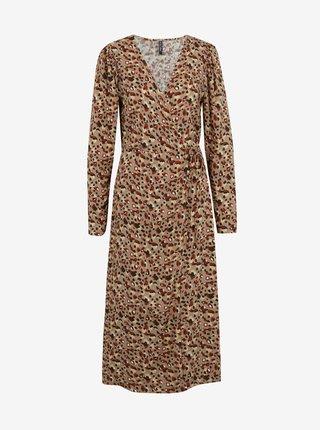 Béžové vzorované šaty Pieces Carly