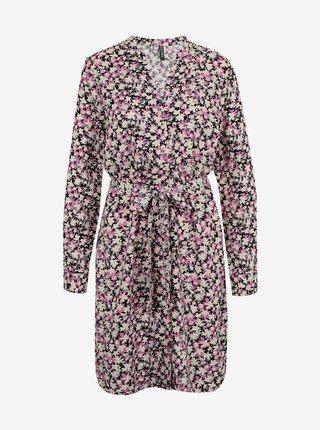 Růžové květované šaty Pieces Carly