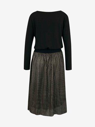 Šedo-černé šaty s plisovanou sukní CAMAIEU