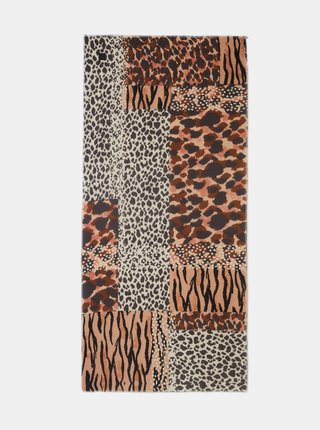 Bílo-hnědý vzorovaný šátek Desigual Animal Patch Bufanda