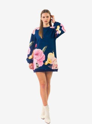 Tmavě modré dámské květované mikinové šaty Culito from Spain Flor