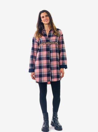 Modro-růžová dámská kostkovaná dlouhá košile Culito from Spain Lupe
