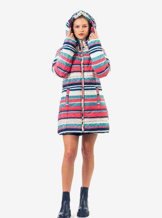 Růžovo-modrý dámský pruhovaný zimní kabát Culito from Spain Alma