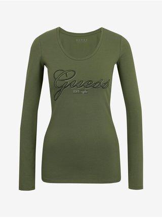 Tričká s dlhým rukávom pre ženy Guess - zelená