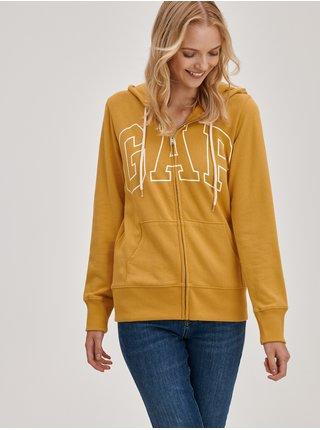 Žlutá dámská mikina na zip logo GAP easy