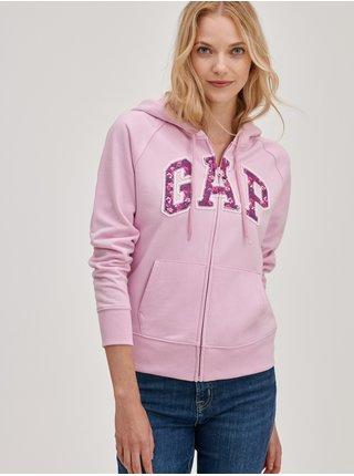 Růžová dámská mikina s květinovým logem GAP