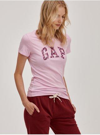 Růžové dámské tričko s barevným logem GAP