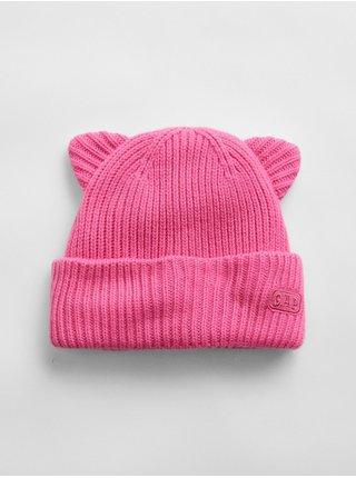 Doplňky - Dětská čepice cat beanie hat Růžová
