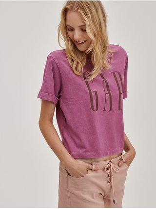 Růžové dámské tričko crop s logem GAP