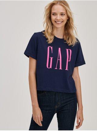 Modré dámské tričko crop s logem GAP