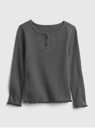 Šedé holčičí tričko s knoflíčky GAP