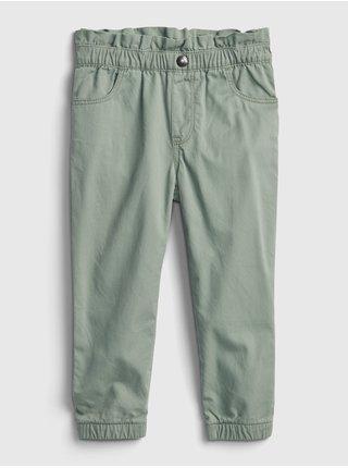 Zelené holčičí kalhoty plátěné mom GAP