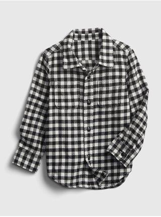 Černá klučičí košile kostkovaná flanelová GAP