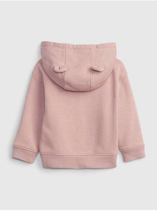Růžová holčičí mikina fleece s kapucí GAP