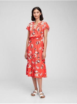 Oranžové dámské šaty print midi dress GAP