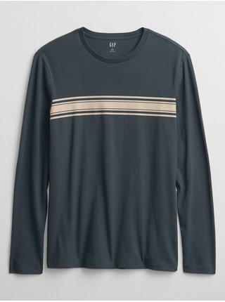 Černé pánské tričko everyday soft crew chest stripe print GAP