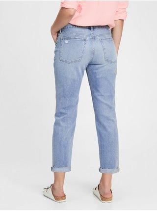 Modré dámské džíny mid rise girlfriend jeans with Washwell GAP
