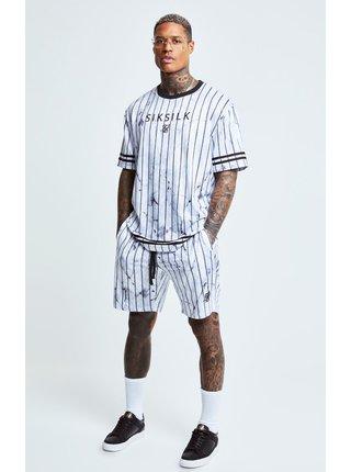 Bílé pánské pruhované tričko  TEE ESSENTIAL MARBLE S/S
