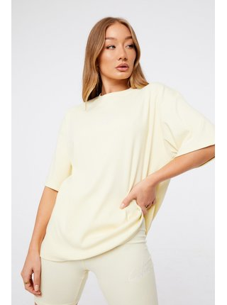 Krémové dámské tričko TOP TWINSET RIBBED SIGNATURE REVERSE