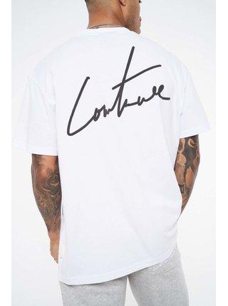 Bílé pánské tričko  SHIRT T FIT REGULAR PRINT PUFF SIGNATURE